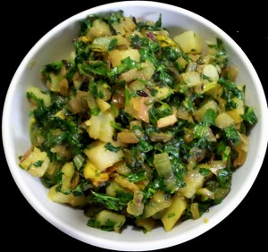 Potato With Fresh Fenugreek Leaves ( Aaloo Methi)