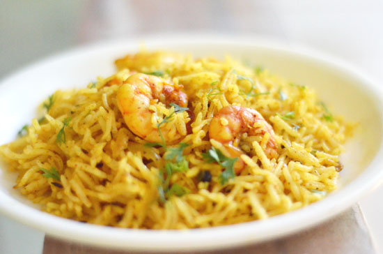 seafood rice Rice with fried prawns