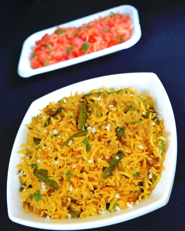 rice with Ivy gourd tondli bhat recipe in marathi