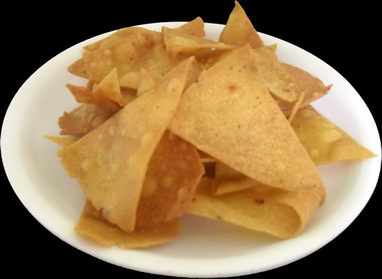 Corn Chips homemade with corn tortilla