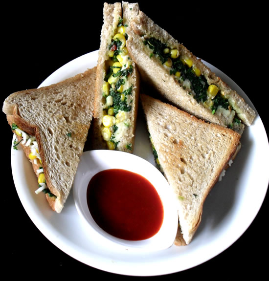 Corn Cheese Spinach Sandwich