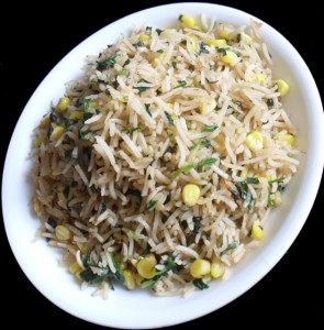 Fenugreek Leaves and Corn Pulav