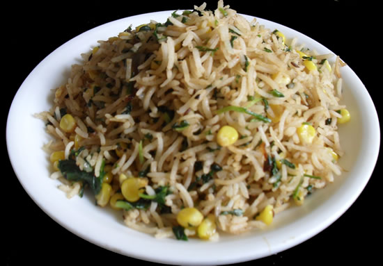 Vendhaya Keeraii corn pulav