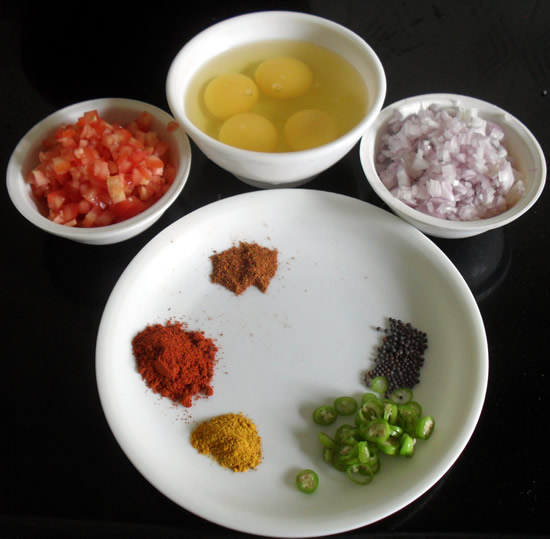 Egg Bhurji Unda Bhurji Ingredients