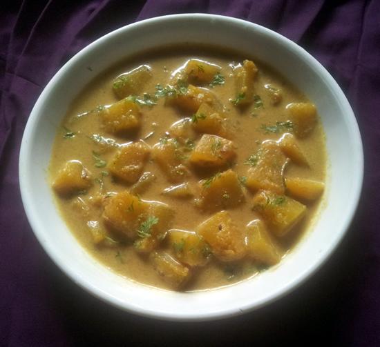 Pumpkin coconut milk curry