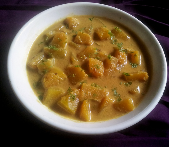 Satvik Gravy with coconut milk and pumpkin