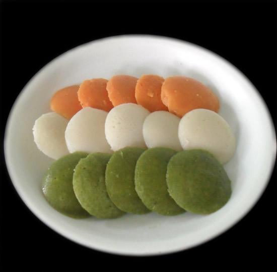 Idli in 3 colors of National flag