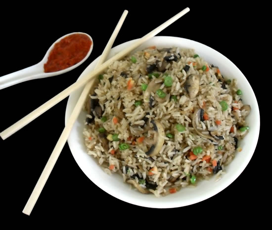 Indo chinese easy rice with mushrrom