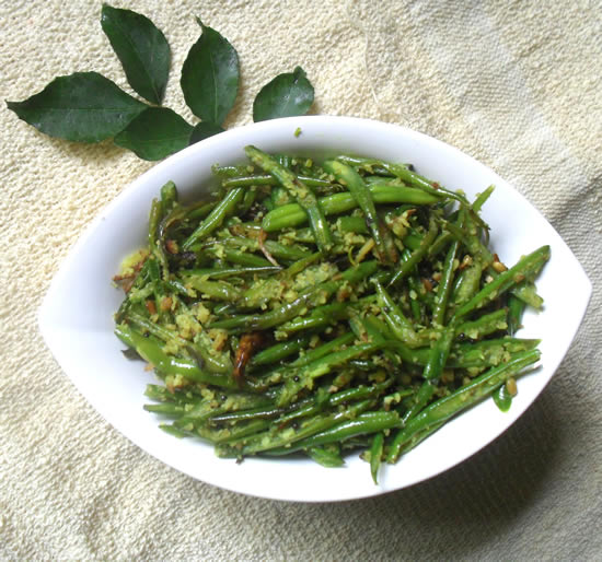 French beans in soth indian style
