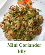 Mini Coriander Idly