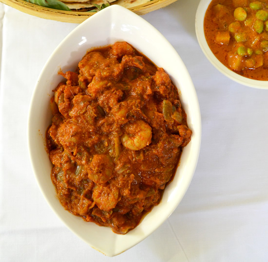 Prawns curry made with red gravy mix
