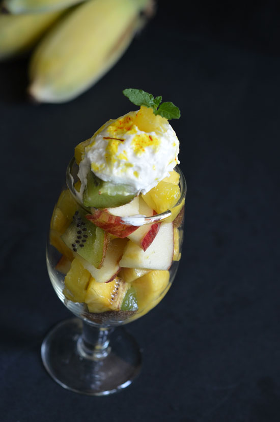 Saffron flavoured fruit salad