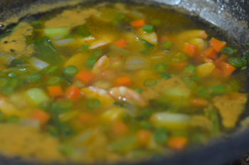 Tom Yum soup before adding chili paste