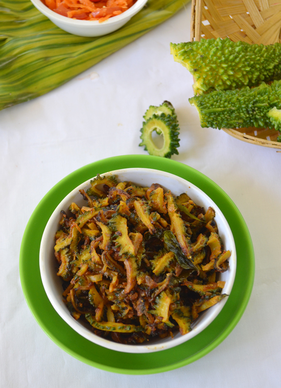 stir fried karela vegetable