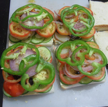 Adding capsicum to veg sandwich