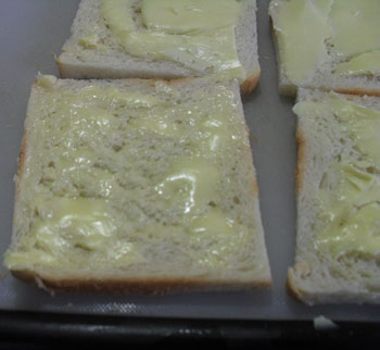 Veg sandwich recipe step 1 apply butter