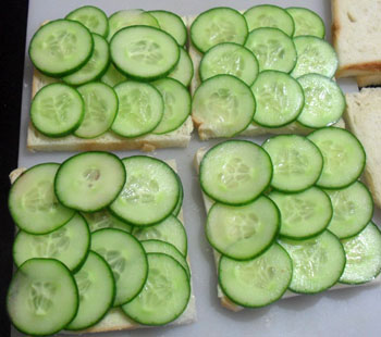 veg sandwich recipe step 2 adding cucumber