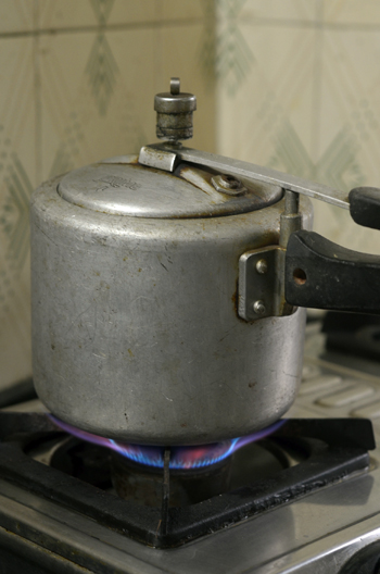 Boiling in pressure cooker
