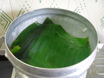 Steamer Ready with banana leaf